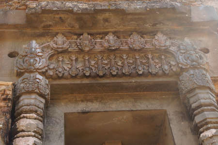 Detail of carved ornamental door of Hindu  temple,Sambor Pre Kuk, Kampong Thom,  Cambodia