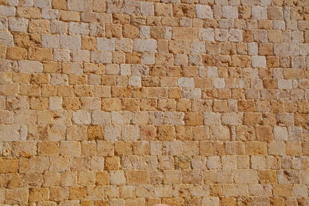 Limestone exterior wall  in the old city of Dubrovnik, Croatia Stock Photo