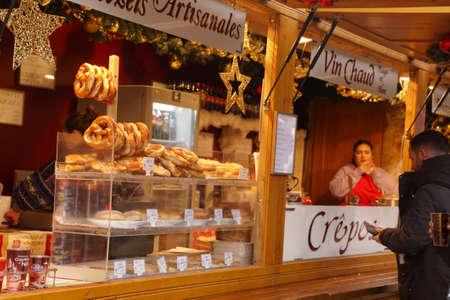 STRASBOURG, FRANCE - DEC 20, 2018 - Fresh baked pretzels at the Christmas market,Strasbourg, France Editorial