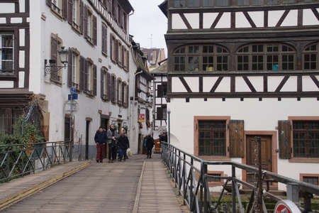 STRASBOURG, FRANCE - DEC 20, 2018 - Half timbered houses in the old city of Strasbourg, France Éditoriale