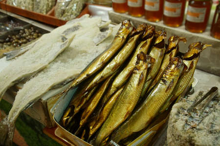 Salted fish in the covered market of Chania, Crete, Greece Banco de Imagens