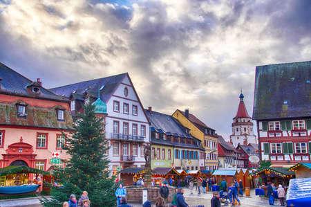 STRASBOURG, FRANCE - DEC 20, 2018 - Half timbered houses frame the Christmas market,Strasbourg, France Editorial