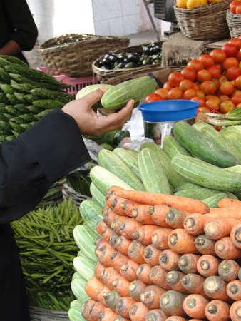 Buying vegetables in the Lad Bazaar in Hyderabad, India