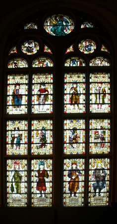 AMSTERDAM, NETHERLANDS - DEC 14, 2018 - Stained glass windows of great hall of the Rijks Museum, Amsterdam, Netherlands Sajtókép