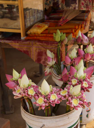 Lotus flower garlands  at the market in Phnom Kulen, Cambodia