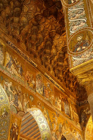 PALERMO, SICILY - NOV 28, 2018 - Elaborate Byzantine style mosaics cover the walls,columns and ceiling of Capella Palatina, Palermo, Sicily, Italy