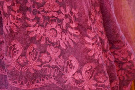Detail of handmade lace brcoade made in Burano Venice, Italy