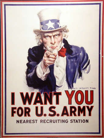 PARIS - DEC 5, 2018 - I Want You for the US Army  - World War I Recruiting poster, Les Invalides Army Museum, Paris, France