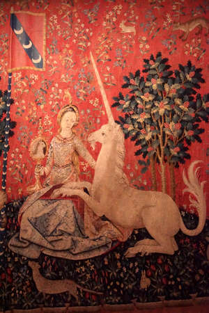 PARIS - DEC 7, 2018 - Lady and the Unicorn tapestry in the Cluny Museum de Moyen Age, Paris, France Sajtókép
