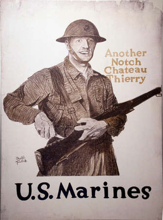 PARIS - DEC 5, 2018 - Another Notch Chateau Thierry  - World War I Marine Recruiting poster, Les Invalides Army Museum, Paris, France