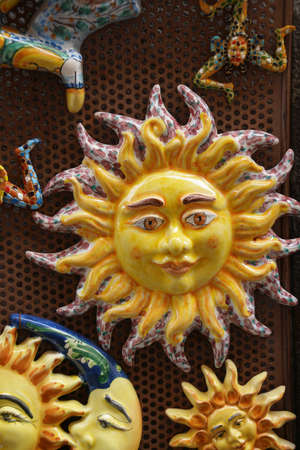 Sunburst souvenir tiles, Taormina Sicily, Italy