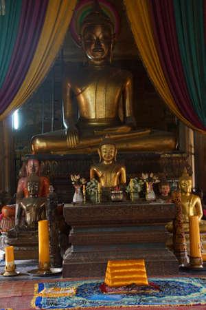 SIEM REAP, CAMBODIA - FEB 17, 2015 - Buddha altar in  Wat Bo temple,  Cambodia
