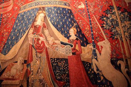 PARIS - DEC 7, 2018 - Lady and the Unicorn tapestry in the Cluny Museum de Moyen Age, Paris, France