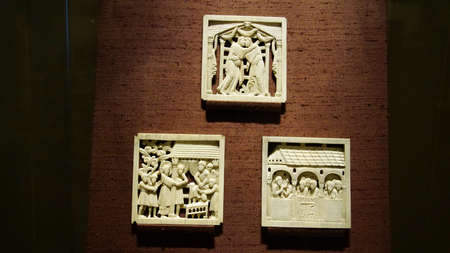 MUNICH - JUL 22, 2018 - Carved ivory religious panel, Bavarian National Museum, Munich, Germany