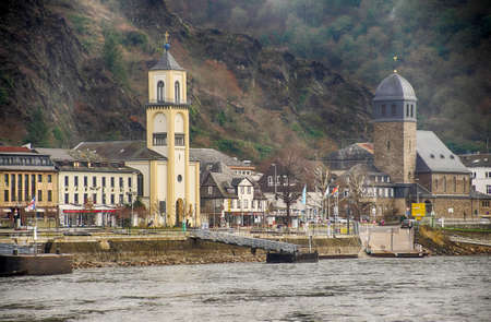 Village church along the Rhine River in Germany
