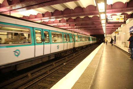 PARIS - DEC 5, 2018 - Metro train in underground station in Paris, France Sajtókép