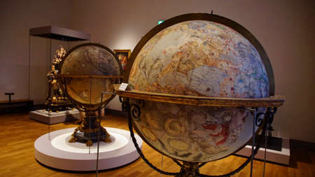 MUNICH - JUL 22, 2018 - Large antique globes showing celestial zodiac stars, Bavarian National Museum, Munich, Germany Stok Fotoğraf - 116282058