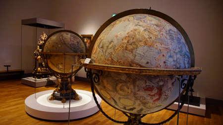 MUNICH - JUL 22, 2018 - Large antique globes showing celestial zodiac stars, Bavarian National Museum, Munich, Germany