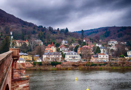 Traditional houses along the river of Heidelberg, Germany