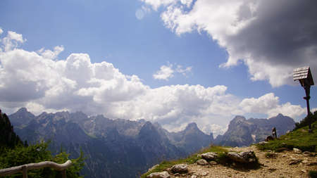 Jagged mountain peaks in the high meadows  in the Dolomite Alps near Toblach, Italy