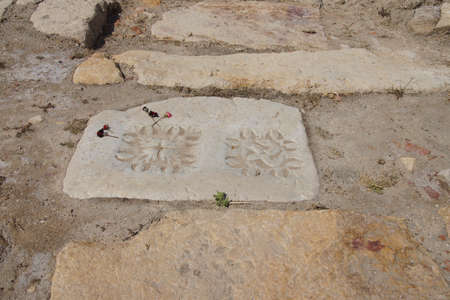 Marble flagstone in the main road of  Ephesus, Turkey
