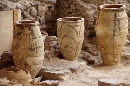 Ancient Greek pots and amphora discovered in the  ruins 0f Akrotiri on Santorini, Greece Stock Photo