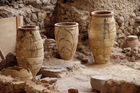 Ancient Greek pots and amphora discovered in the  ruins 0f Akrotiri on Santorini, Greece 写真素材