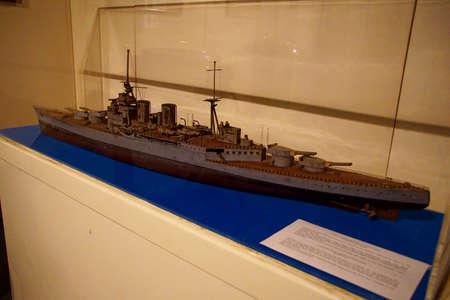 VALLETTA, MALTA - APR 11, 2018 - Model of destroyer HMS Mohawk, Malta Maritime Museum, Birgu Vittoriosa, Malta
