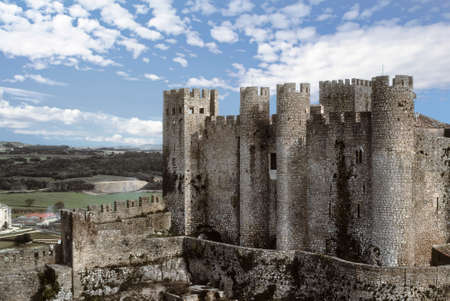 Medieval towers of castle  in Leira, Portugal