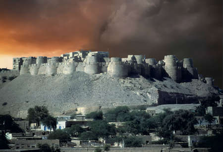 City walls of the fortified city  of Jaisalmer in Rajasthan,  India