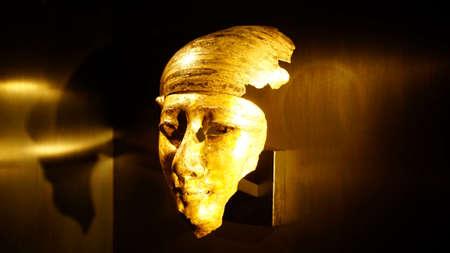 MUNICH - JUL 21, 2018 - Funerary mummy  mask from Egyptian Museum, Munich, Germany