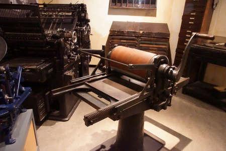 AMSTERDAM, NETHERLANDS - DEC 11, 2018 - Printing press used in secret, World War II Resistance Museum, Amsterdam, Netherlands