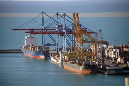 Tankers in the harbor of Malaga, Spain