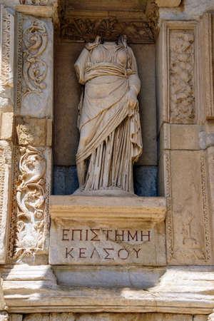 EPHESUS, TURKEY - MAY 25, 2014 - Statue of Knowledge on the exterior of the  Celsus library in  Ephesus Turkey Редакционное