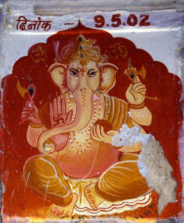 Painting of the elephant god Ganesha at an outdoor shrine in Hydrerabad, India Redactioneel