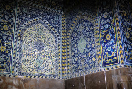 Intricate Persian mosaics, Emam Mosque,Isfahan,Iran, Middle East Stock Photo