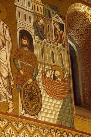 PALERMO, SICILY - NOV 28, 2018 - Saint Paul escapes from Damascus in a basket lowered from the city walls, Capella Palatina, Palermo, Sicily, Italy