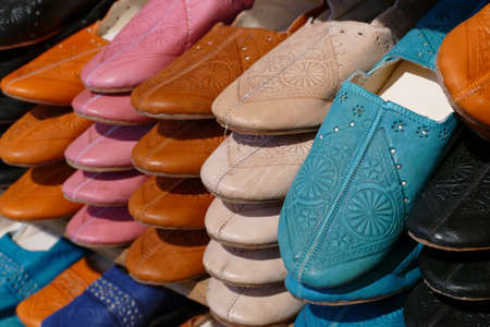 93b6e01b2 Multi-colored hand made leather slippers made in the tanneries of Fes,  Morocco