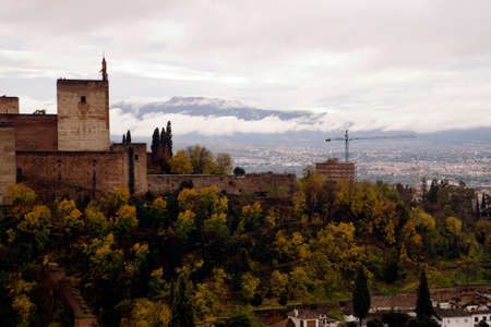 Palace of the Alhambra seen from the Albayzin Arab quarter of Grenada, Spain
