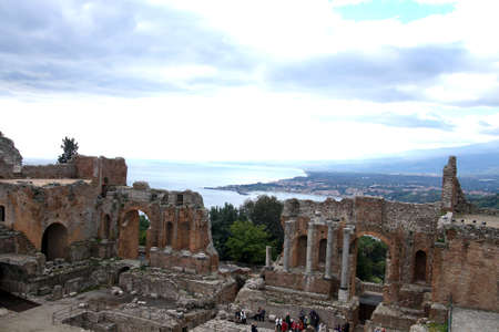 TAORMINA, SICILY - Greco-Roman theatre overlooking the sea in Taormina, Sicily, Italy