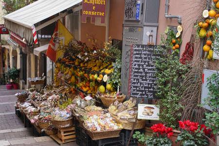 TAORMINA, SICILY - NOV 29, 2018 - Fruit and flower shop in Taormina Sicily, Italy