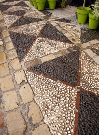 Patterned pavement of the mirador in   the Albayzin Arab quarter of Grenada, Spain 写真素材