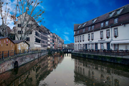 Half timbered houses on a canal in Strasbourg, France