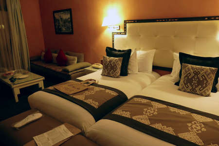 OUARZAZATE, MOROCCO - FEB 17, 2019 - Bedroom suite in a luxury hotel, Ouarzazate,  Morocco Editorial
