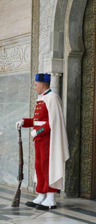RABAT, MOROCCO - FEB 12, 2019 - Guard in traditional uniform, Mausoleum of  Mohammad V, Rabat, Morocco