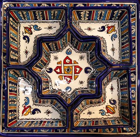 Porcelain meze appetizer serving dish,Artisanal pottery workshop, Fes, Morocco 免版税图像