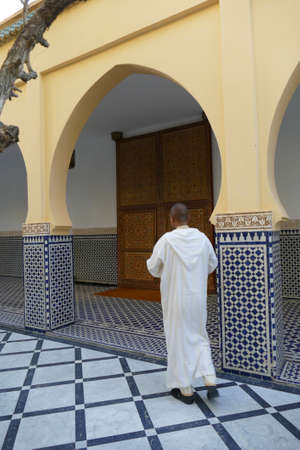 RISSANI, MOROCCO - FEB 15, 2019 - Elaborate decorated doors of the Moulay Ali Cherif Mausoleum,  Rissani, Morocco, Africa Editorial