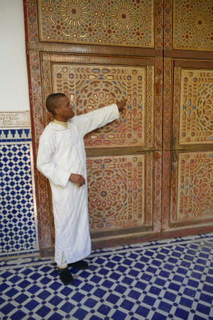 RISSANI, MOROCCO - FEB 15, 2019 - Elaborate decorated doors of the Moulay Ali Cherif Mausoleum,  Rissani, Morocco, Africa 에디토리얼