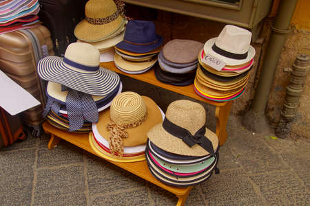 Mens and womens casual hats for sale in Taormina Sicily, Italy