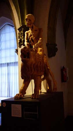 MUNICH - JUL 22, 2018 - Death skeleton riding a lion, Bavarian National Museum, Munich, Germany